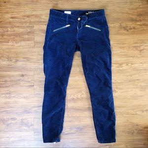 Gap velvet jeans with zipper detail